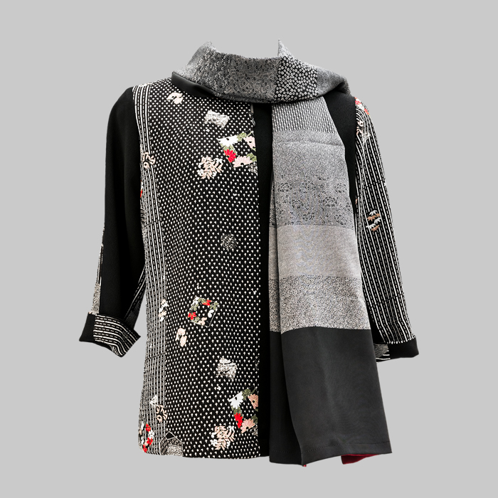 4fd1fb01aace60 Hand printed Shawl   Chirimen blouse by Patch Magic. Japanese silk Singapore